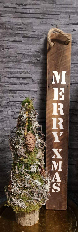 Houten label Merry xmas M of Frohes Weihnachten