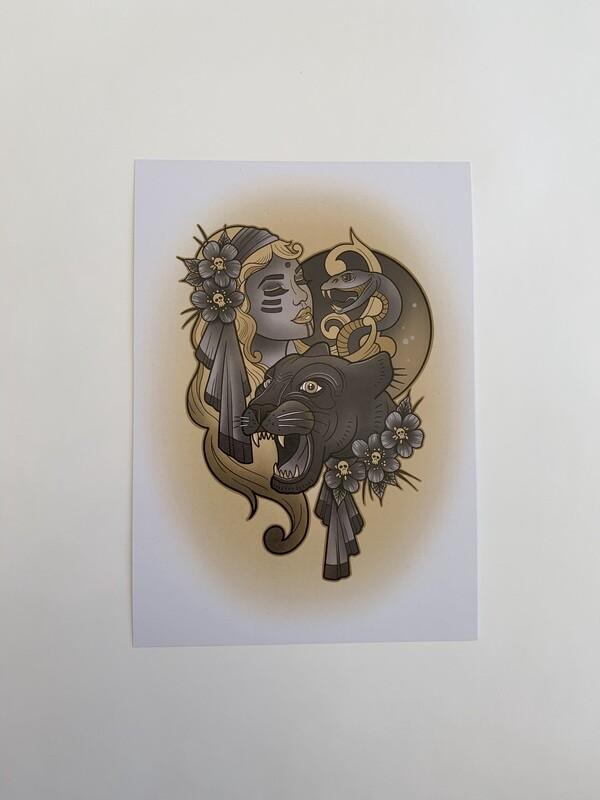 Panther Lady A5 Print