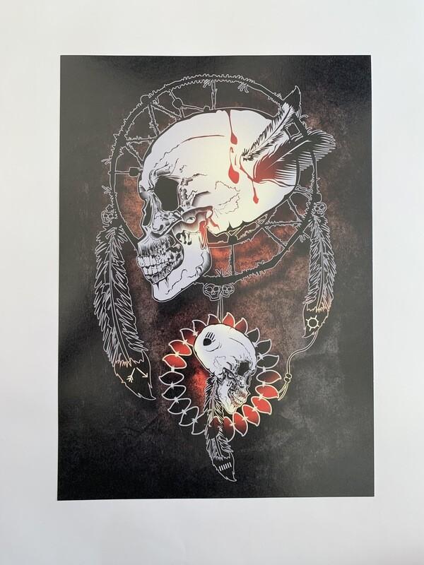 Skull Dream Catchers A4 Print
