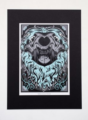 "Lion Skull A4 Print (16x12"" mount)"