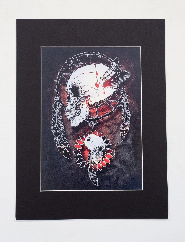 "Skull Dream Catchers A4 Print (16x12"" mount)"