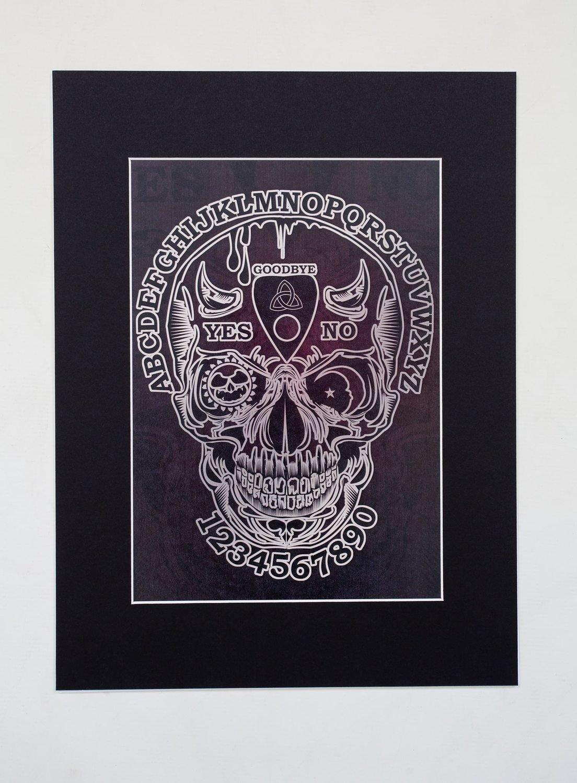 "Ouija Skull A4 Print (16x12"" mount)"