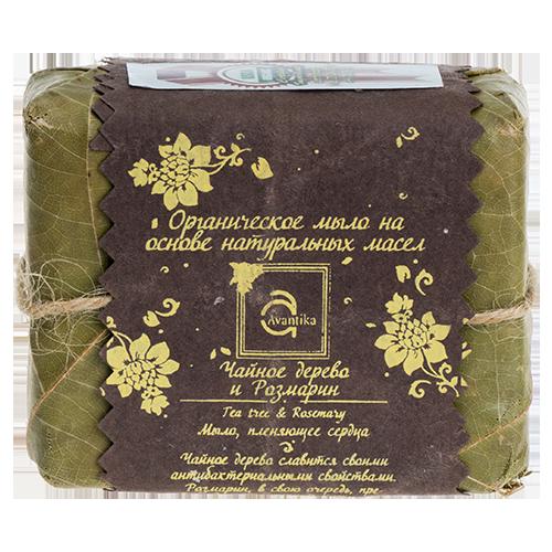 Органическое мыло на основе натуральных масел Чайное дерево и Розмарин Avantika Tea Tree & Rosemary