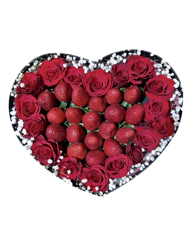Red Roses & Strawberries Gift Box#154