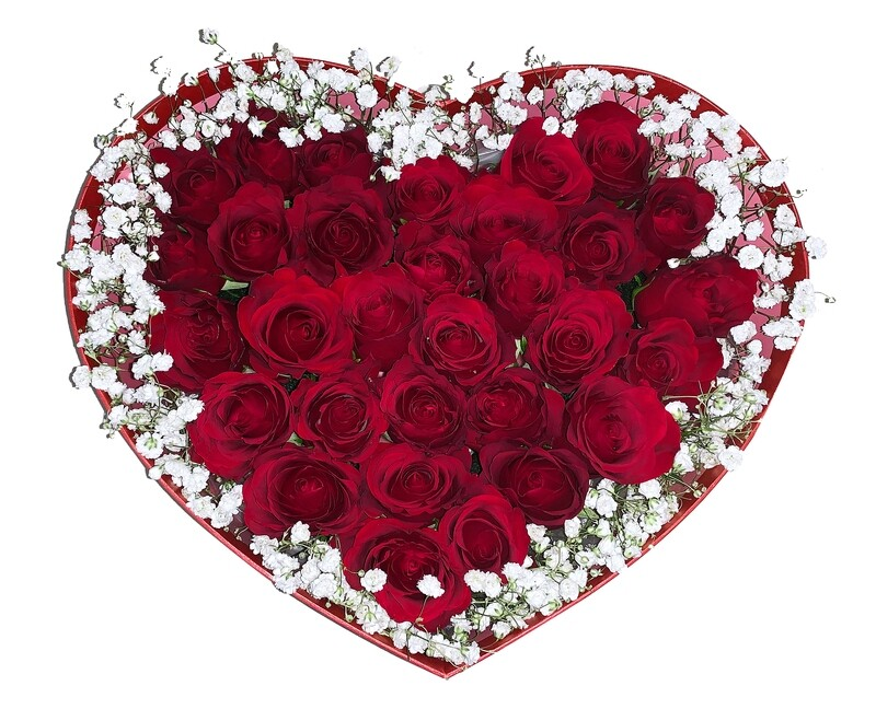 Red rose heart box #155