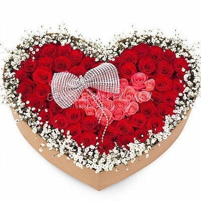 Red rose heart box # 10