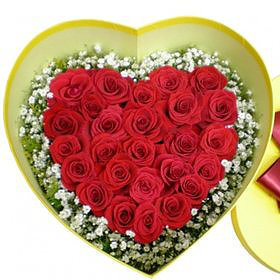 Red rose heart box #14