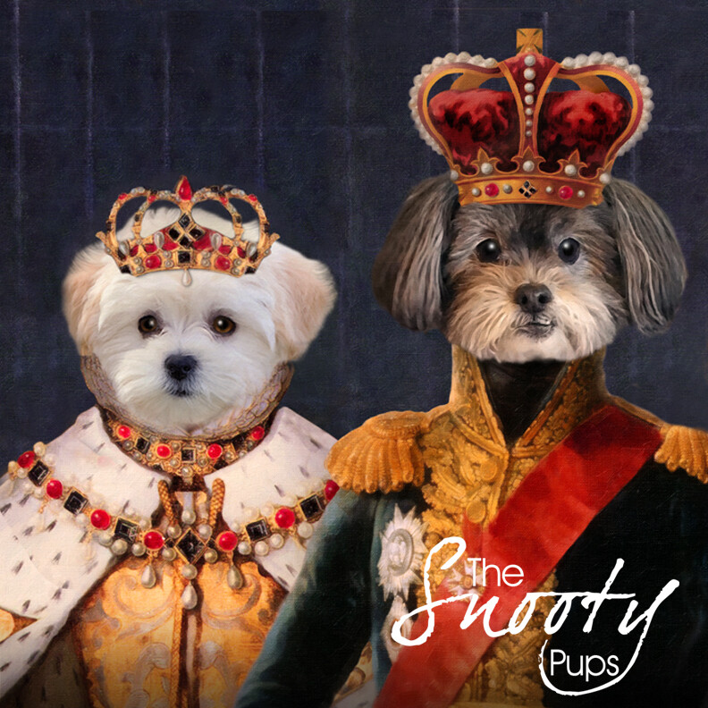 Custom Couple Pet Portrait - King & Queen