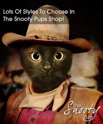 Custom Cat Portrait - Cat Wayne Cowboy