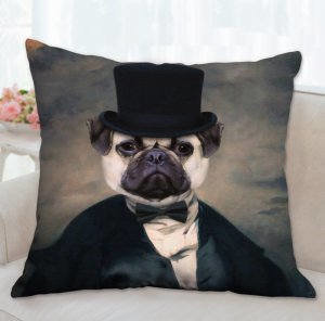 Pug Pillow, Pug Portrait, Pug Throw Pillow