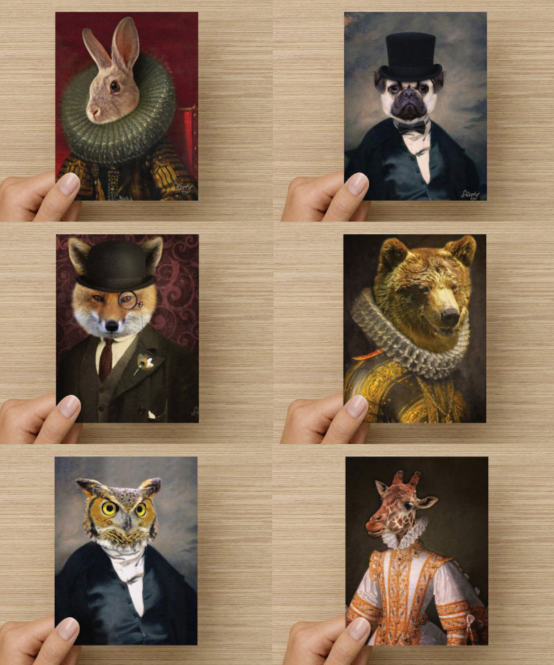 Note Cards - Pug, Lemur, Owl,  Bear, Crow, Fox, Giraffe, Monkey, Rabbit