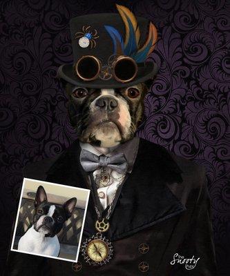 Custom Dog Portrait - Steampunk  Industrial