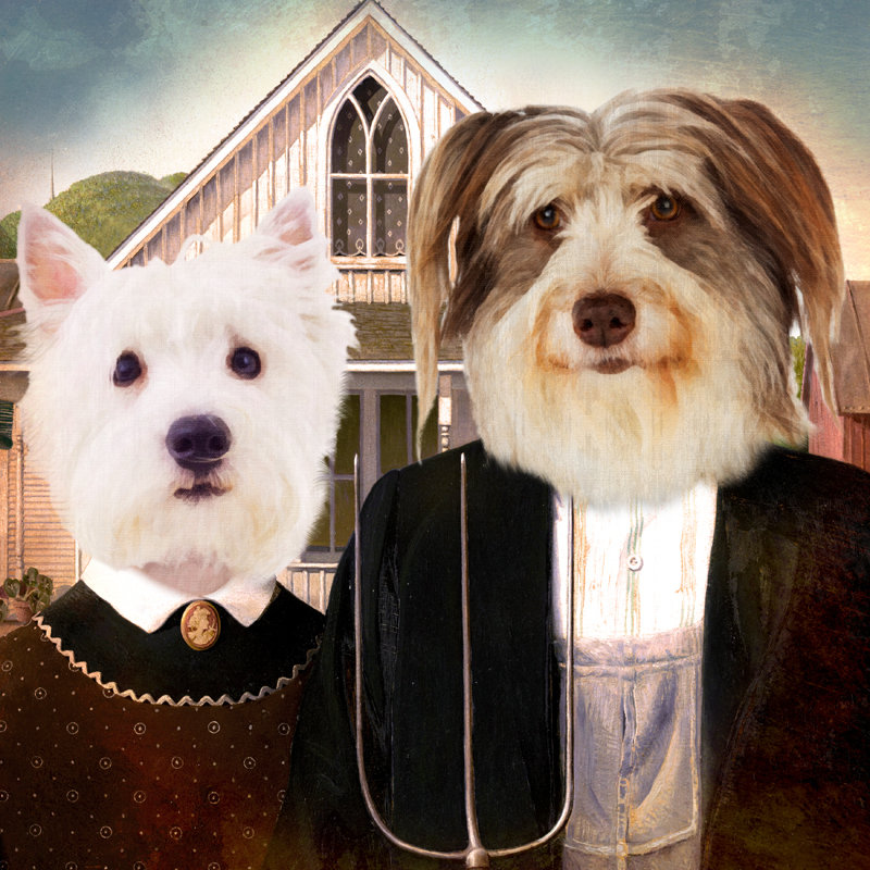 Custom Pet Portrait - American Gothic Farmer Couple