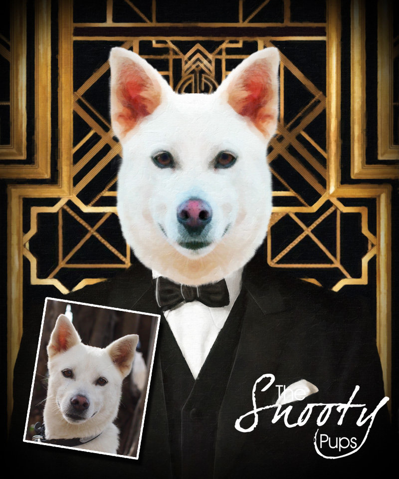 Custom DOG Portrait - Art Deco The Great Gatsby