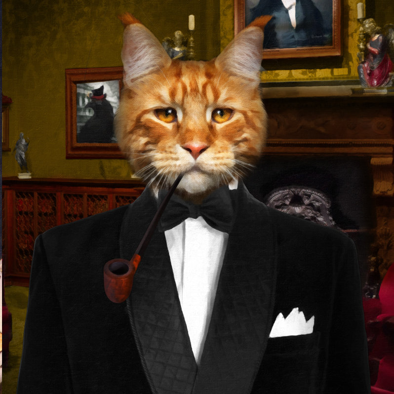 Custom Cat Portrait - Smoking Jacket