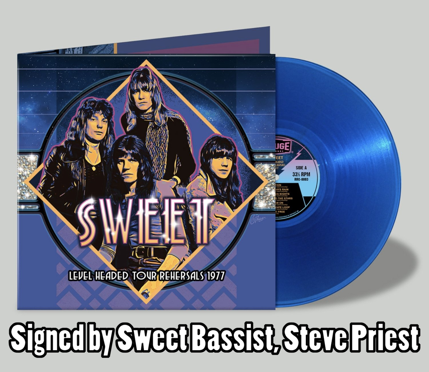 """Sweet """"Level Headed Tour Rehearsals 1977"""" -- Limited Edition Blue Vinyl SIGNED BY STEVE PRIEST"""