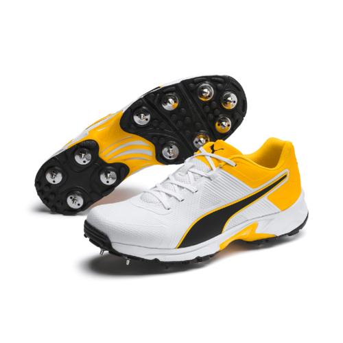 2020 Puma 19.1 White/Yellow Cricket Spikes