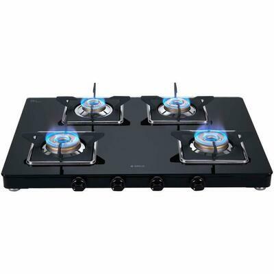 Elica 694 CT VETRO, Slim LINE SPF 2J Slimmest Stainless Steel 4 Brass Burner Gas Stove with Square Grid (Black)