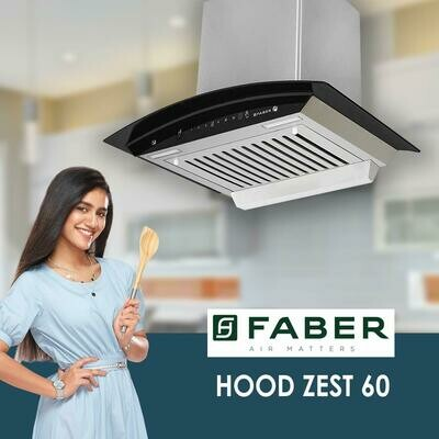 Faber 60 cm 1100 m³/HR Auto-Clean Curved Glass Kitchen Chimney (Hood Zest HC SC SS 60, 1 Baffle Filter, Touch Control, Stainless Steel)