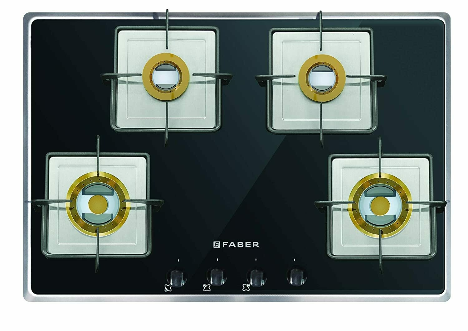 Faber Glass, Stainless Steel Frame Hob 4 Burner, Auto Electric Ignition, Glass Top (Fusion 724 CRX BR CI) Black, Silver