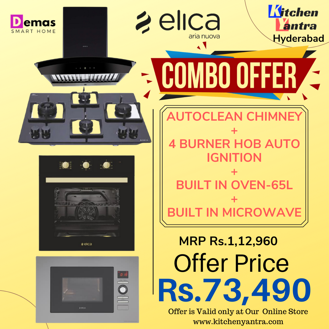 Elica Combo Offer 1 ( Autoclean Chimney + 4B Hob + 65L Built-in Oven + Built in Microwave)