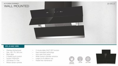 Elica 60 cm 1100 m3/hr Auto Clean Chimney (EFL-S601 HAC VMS, Filterless Chimney, Motion Sensor Control, Black)