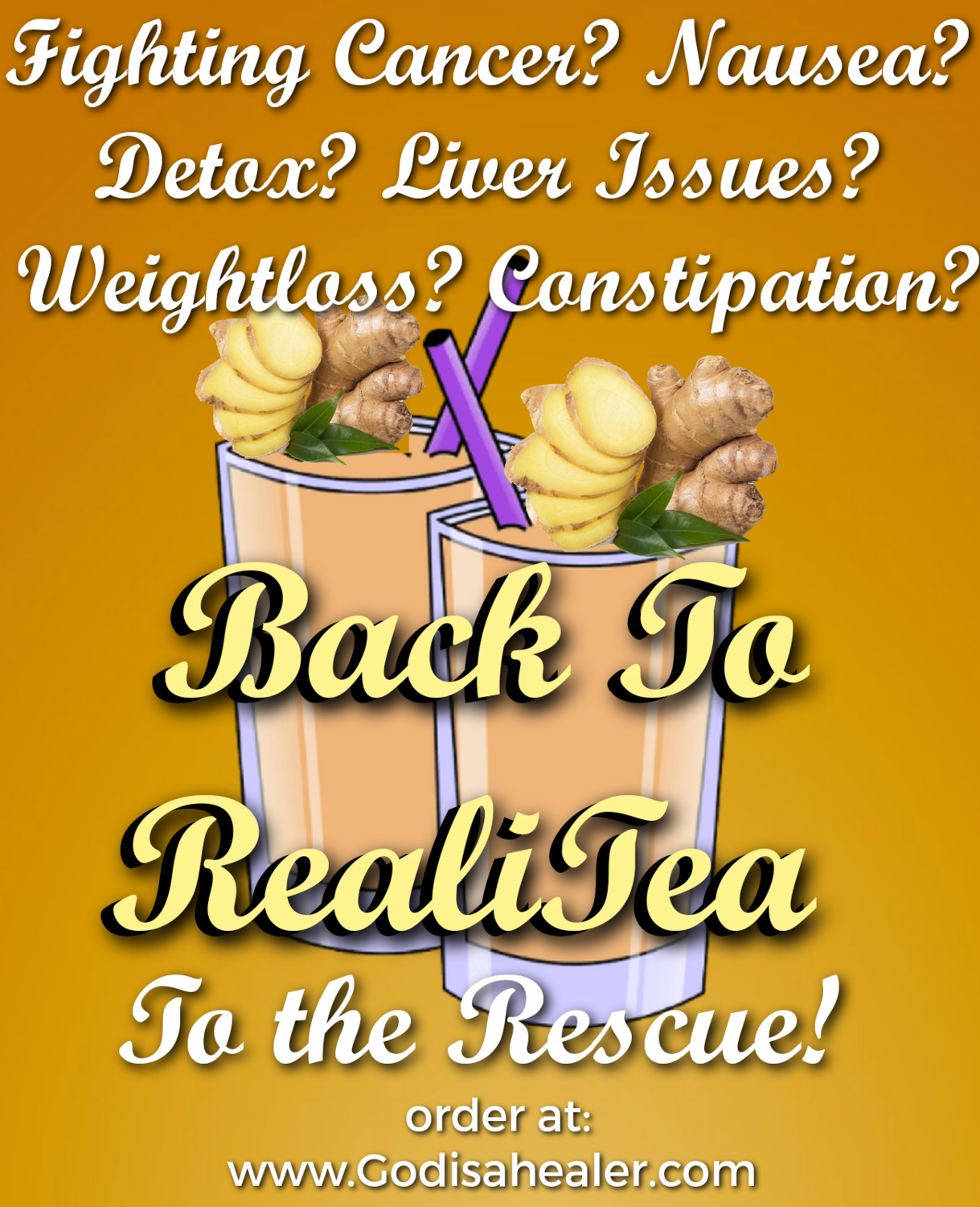 (Back To RealiTea Detox) One Gallon Tea bag  Weight loss, appetite suppressant, mild stool softener.  Besides weightloss benefits, this tea ALSO helps with nausea and digestive issues.