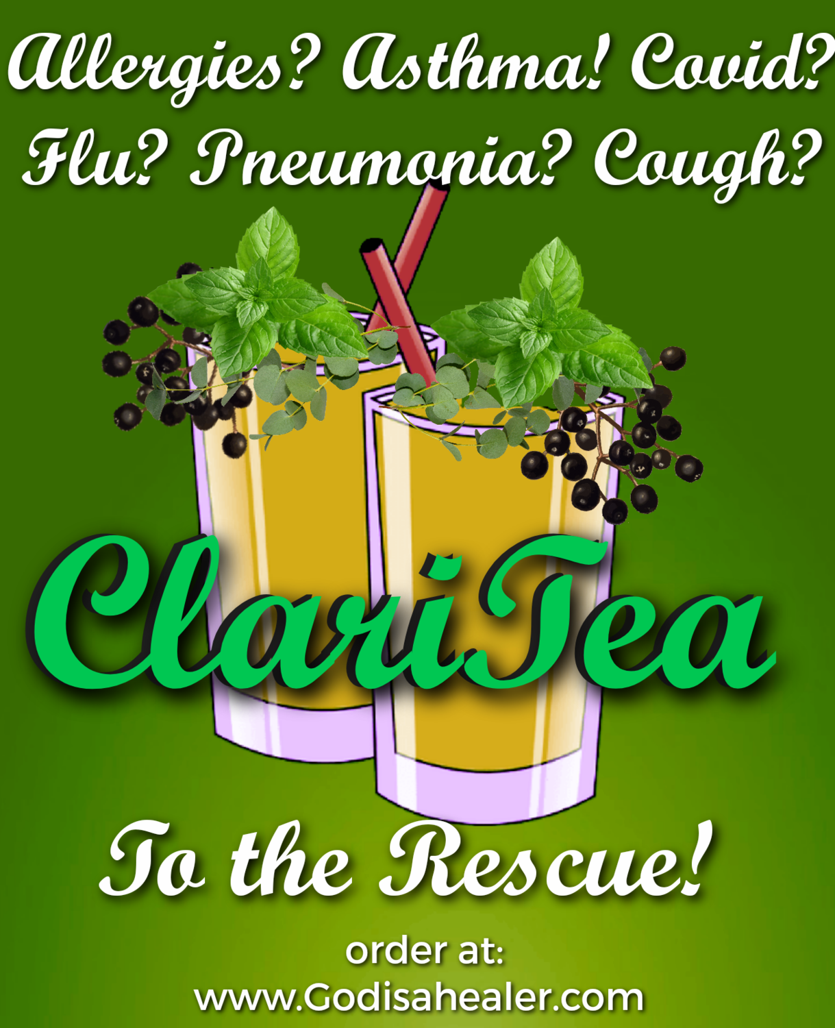 (ClariTea) One Gallon Tea bag Allergy relief, lung repair for any lung issues, removes mucus buildup cough/sore throat quickly. This was the tea of choice at the height of the Covid pandemic.