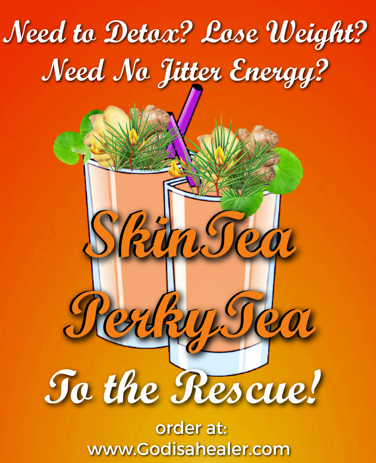 (SkinTea Perky Tea Weightloss Detox Energy Tea) One  Gallon teabag  Regain energy, clarity, and alertness without jitters. Appetite suppressant. Weight loss, liver detox, mild stool softener.