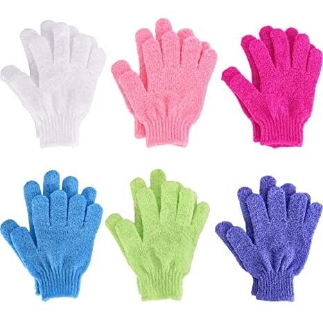 One pair of exfoliating face and body gloves