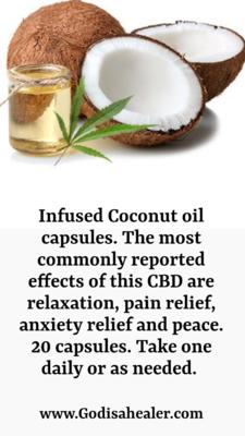 Infused Coconut oil capsules. 20 capsules