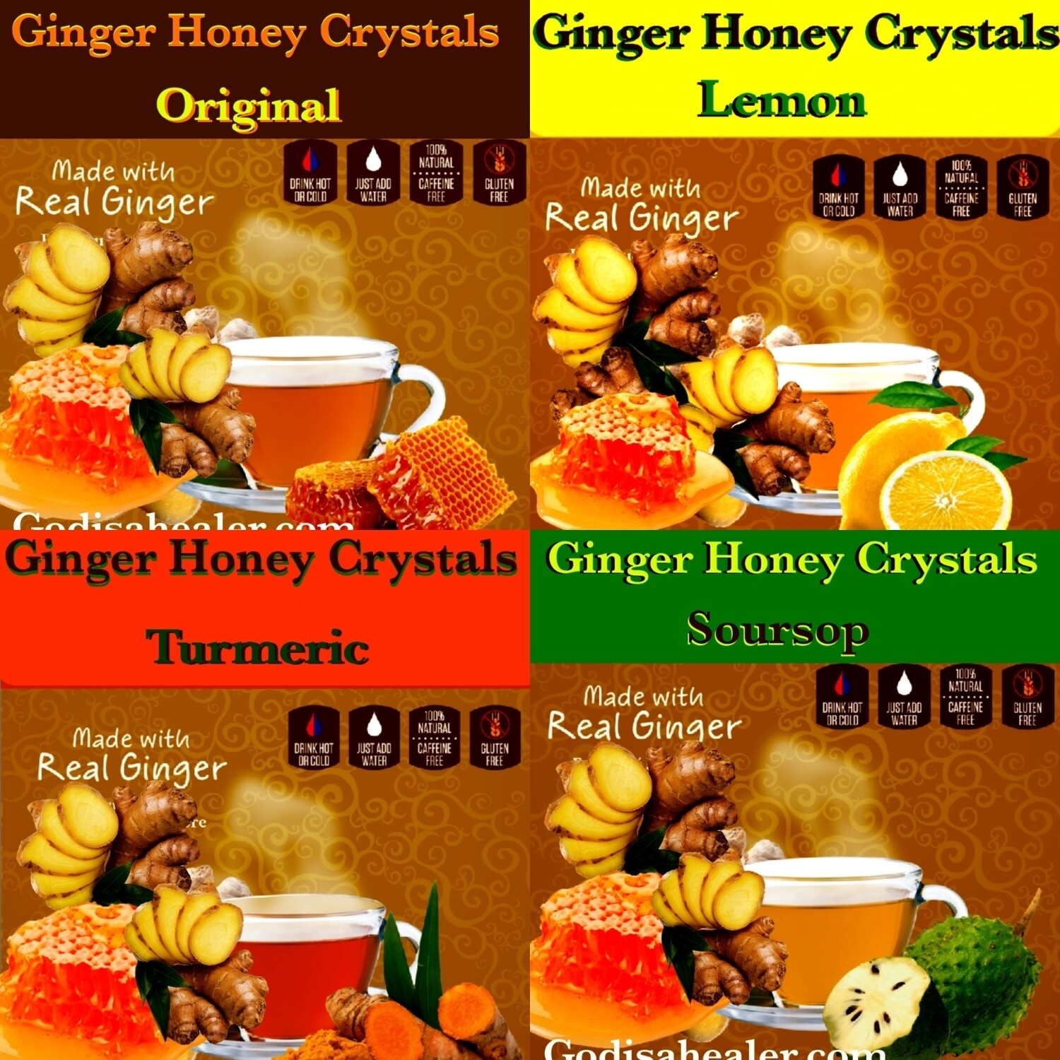 Instant Ginger Honey Crystals  Buy 4 or more flavors for a discount. Ginseng, Matcha, Lemon, Turmeric, Soursop