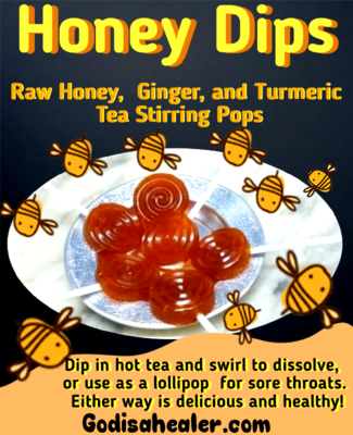 Canna Infused Honey Dips Raw Honey, Ginger and Turmeric Tea Stirring Pops