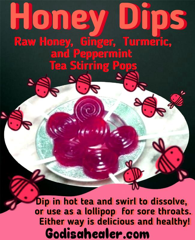 Honey Dips Raw Honey, Ginger, Turmeric and Peppermint Tea Stirring Pops