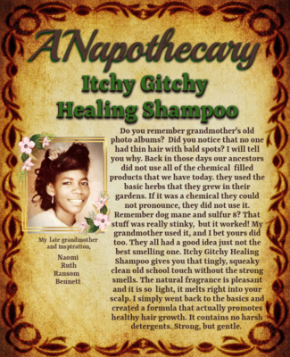 ANapothecary Itchy Gitchy Healing Shampoo Sulfate free detox and clarifying shampoo.