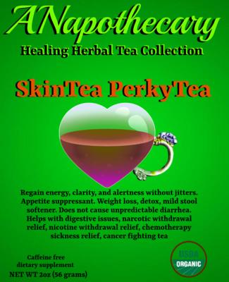 SkinTea PerkyTea Weightloss Detox Energy Tea One Gallon teabag