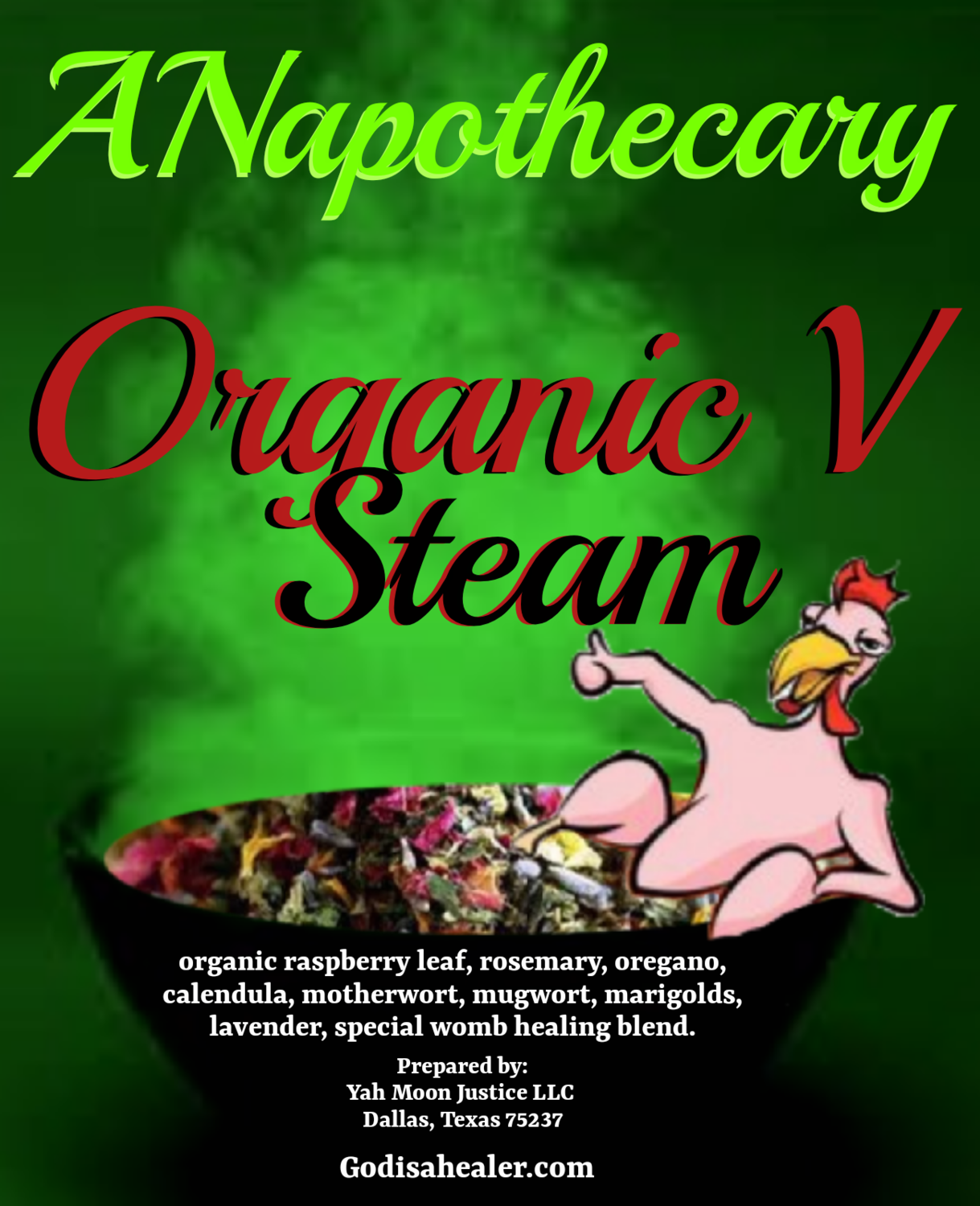 Organic V Steam  loose herbs in 5 mess free sealed pouches.