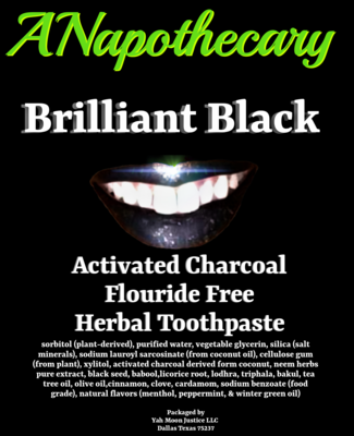 Brilliant Black Flouride Free Activated Charcoal Toothpaste