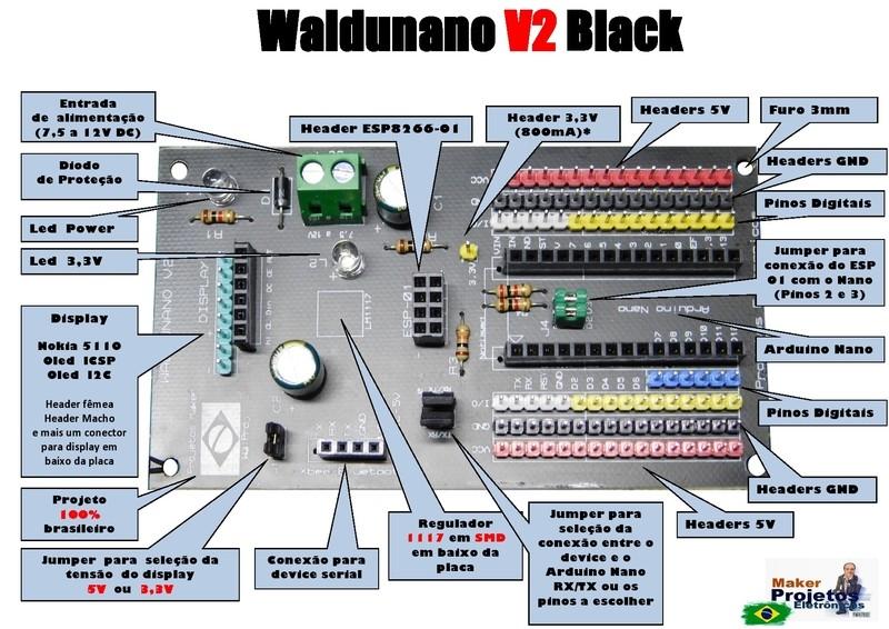 Waldunano V2 Black - A placa para todos os Projetos  IOT - Não acompanha Arduino Nano   Disponível nas cores  Vermelha, Preta e Branca