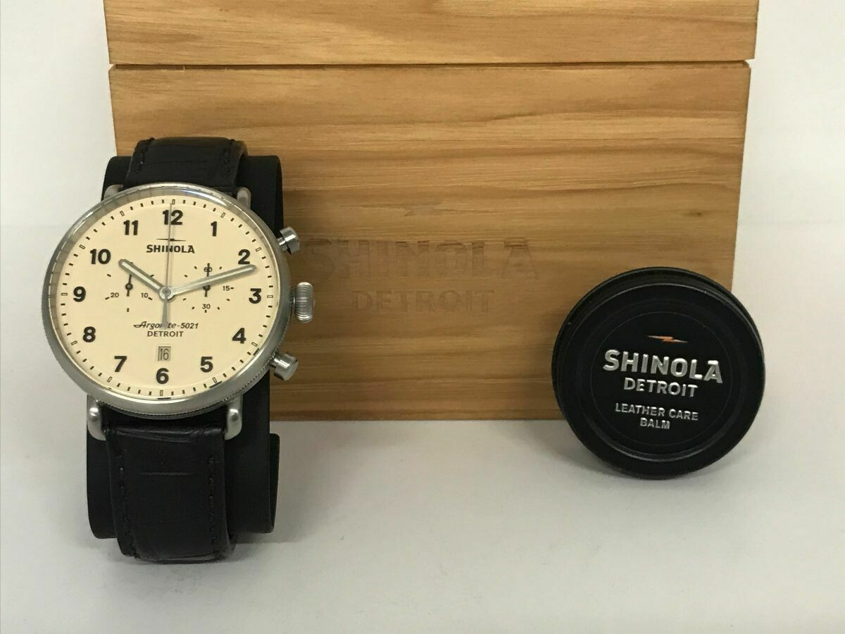 Shinola Canfield 43mm Chrono with cream dial