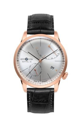 Zeppelin Flatline rose gold power reserve automatic