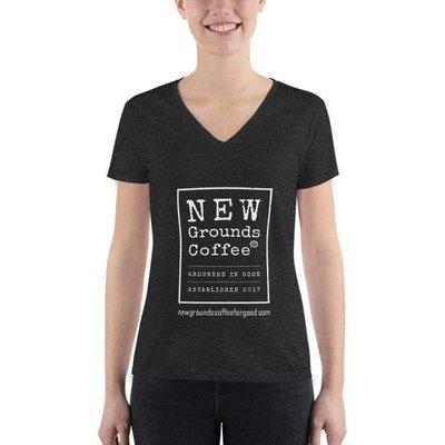 NEW Grounds Women's Fashion Deep V-neck Tee - Dark Gray