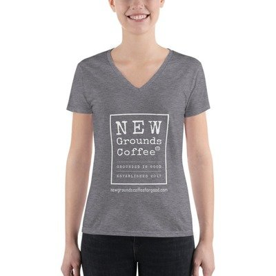 NEW Grounds Women's Fashion Deep V-neck Tee - Light Gray