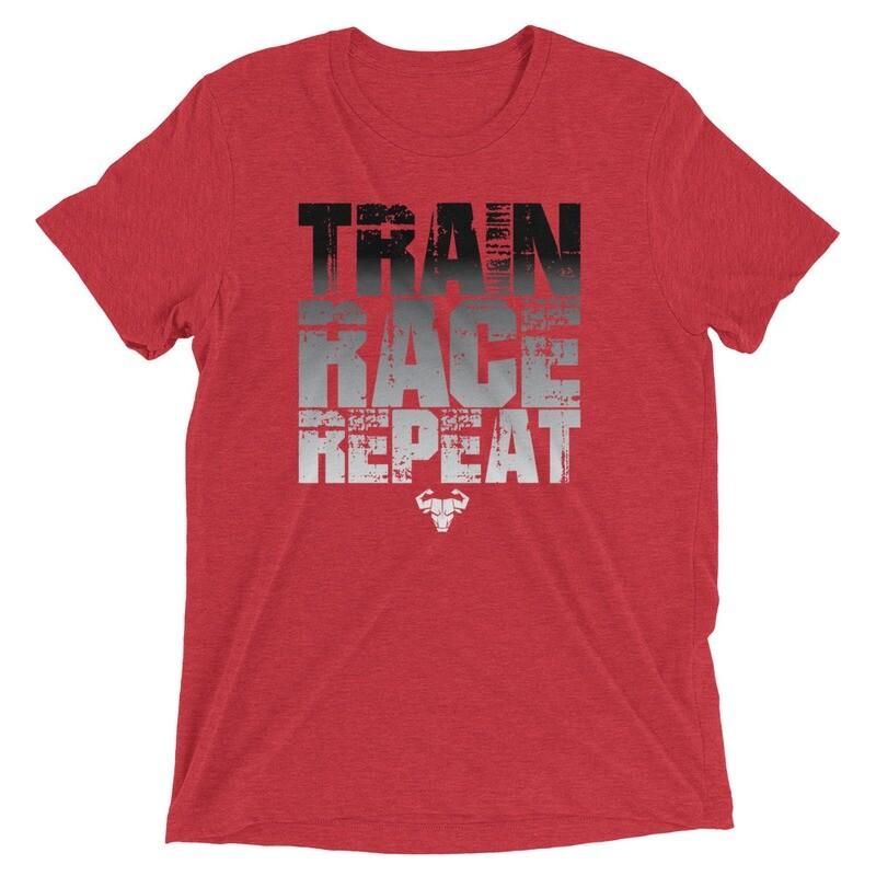 Train. Race. Repeat. Black Gradient Tri-Blend Tee