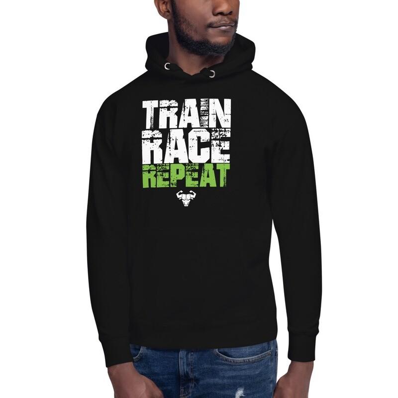 Train. Race. Repeat. Premium Hoodie