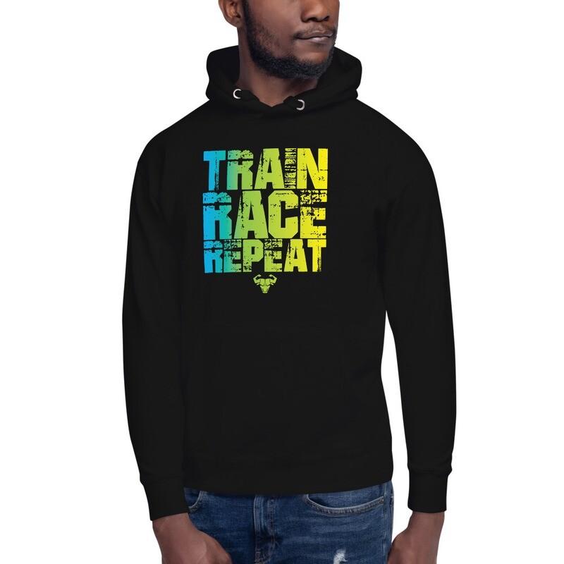 Train. Race. Repeat. Gradient Premium Hoodie