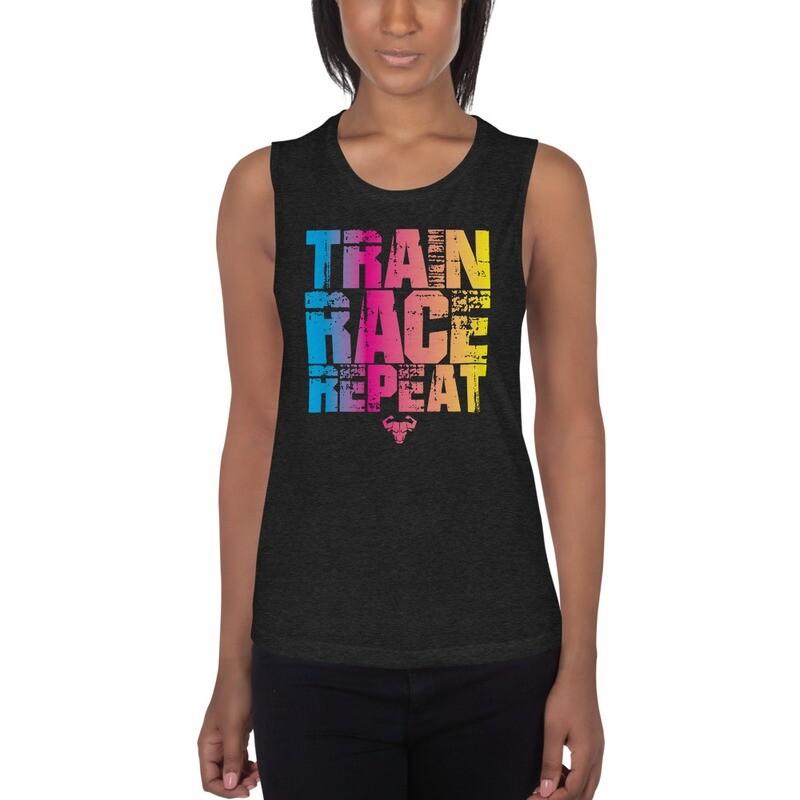 Gradient Train. Race. Repeat. Ladies' Muscle Tank
