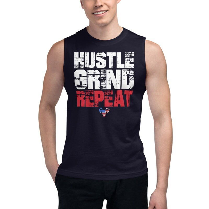 Hustle. Grind. Repeat. USA Muscle Shirt