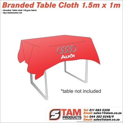 Branded Trestle table cloth 1.5m x 1m