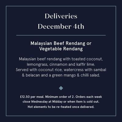 December 4th - Malaysian Beef Rendang or Vegetable Rendang